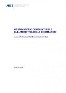 copertina Osservatorio congiunturale Ance febbraio 2018
